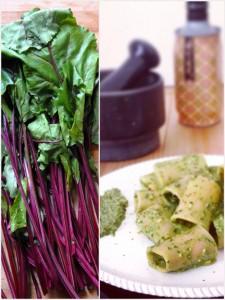 Paccheri di Kamut bio Verrigni con pesto di foglie di barbabietola e mandorle di Toritto